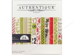 "Authentique Paper Pads are filled with papers of the finest archival quality, designed to enhance the ""authentic"" side in everyone. Each pad contains coordinating printed sheets. Bundle 6""x 6"" Festive- 2 sheets each of 12 designs, which have been reduced in size to fit bundle paper. One side has a pattern: vintage Christmas collage, diagonal stripe, graphic retro Christmas icons, plaid, advent numbers, dot, pinecone damask, stripe, sheet music, geometric, holly flourishes, or graph paper…"