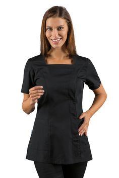 Découvrez cette tunique de travail esthéticienne noire pas chère par ISACCO, vendue sur la boutique en ligne mylookpro.com dans la catégorie blouses et tuniques Esthéticienne.