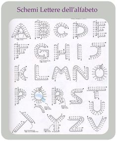 Sono gli schemi per fare tutte le lettere dell'alfabeto a uncinetto.
