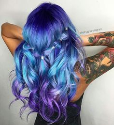 Pulp Riot Beauty: Fantasy Unicorn Purple Violet Red Cherry Pink yellow Bright H. Cute Hair Colors, Pretty Hair Color, Bright Hair Colors, Hair Color Purple, Hair Dye Colors, Blue Hair, Wavy Hair, Dyed Hair, Wavy Curls