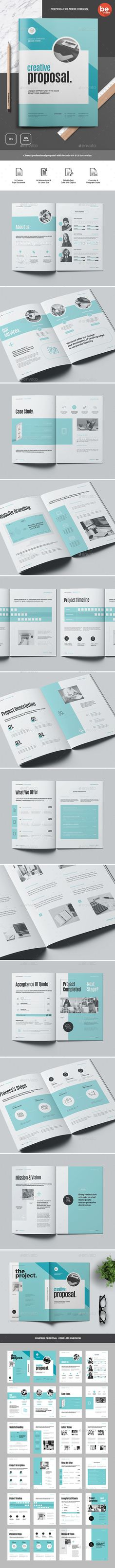 Proposal Brochure Template InDesign INDD - 24 Custom Pages Document - A4 International & Us Letter Size