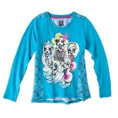 Monster Chic Girls' Long-Sleeve Tee - Soft Turquoise