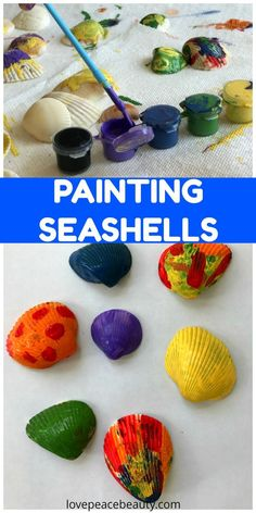 Painting Seashells Activity For Kids. Toddler arts and crafts. Preschool activity. Summer painting activity. Kids painting.