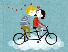 A4 'Bicycle Built for Two' retromodern by RetroDoodler on Etsy
