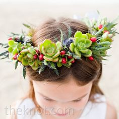 A flower girl crown of succulents // photo by: Adi Nevo Photographs // Flower Girl Look: A Simple Ceremony