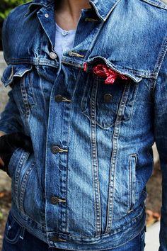Levis. Brand. Classic. Jacket. Jeans. Handkerchief. Details. Simple. Great Match. Fit. Men. Fashion. True Style. Timeless. Worn.