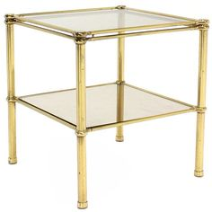 Mid-Century Italian modern brass side or end table stand with smoked glass shelves. Square Tables, End Tables, Brass Side Table, Glass Shelves, Mid-century Modern, Mid Century, Furniture, American, Home Decor