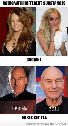 Lindsay Lohan and Patrick Stewart aging process - Funny comparison of aging with different substances -- Lindsay Lohan with cocaine and Patrick Stewart with Earl Grey Tea.