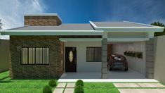 C016-1 Brick House Designs, House Front Design, Roof Design, Future House, My House, Modern Small House Design, 2 Bedroom House Plans, House Construction Plan, Beautiful House Plans