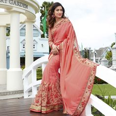 Buy Pink Reception Wear Designer Saree for womens online India, Best Prices, Reviews - Peachmode