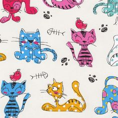 Fat Quarter Furry Friends Cats Cartoon Cream Cotton Quilting Fabric Nutex by Petestreasuretrove on Etsy