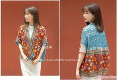 Crochet Cardigan, Summer Tops, Vest Jacket, Crochet Patterns, Sari, Tunic Tops, Jackets, Vests, Women