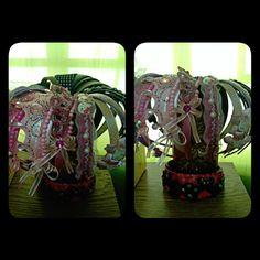 Repurposed flower vase...hairband holder