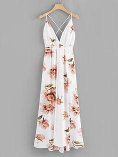 Floral Print Criss Cross Back DressFor Women-romwe Beach Wear Dresses, Casual Dresses, Dress Outfits, Fashion Dresses, Floral Dresses, Floral Maxi, Estilo Resort, Bodycon Dress Parties, Summer Dresses For Women