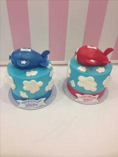 Twin airplane smash cakes