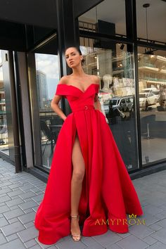 Accept Exchange or Refund for Quality Problem.Sexy Split Off Shoulder Red Prom Dress.Contact us to shop long red prom dress online. Cheap Formal Dresses, Trendy Dresses, Elegant Dresses, Nice Dresses, Long Dresses, Fashion Dresses, Maxi Dresses, Dress Long, Red Long Sleeve Dress