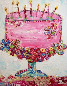 'Happy Cake' by Tricia Robinson Happy Birthday Quotes, Happy Birthday Images, Happy Birthday Greetings, Birthday Messages, Happy Birthday Me, It's Your Birthday, 22nd Birthday, Art Birthday, Birthday Painting