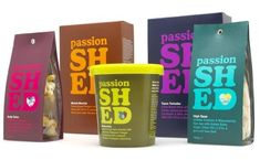 Passion Shed gourmet treats. Packaging by Roundel. bold textual colour