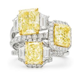Stacked fancy yellow diamond rings with white diamonds and diamond pavé set in 18kt yellow gold and platinum bands. brinkhaus.com Yellow Diamond Rings, White Diamonds, Bands, Engagement Rings, Gold, Jewelry, Jewellery Making, Enagement Rings, Jewelery