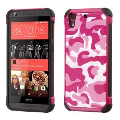Insten Hot / White Camouflage Hard PC/ Silicone Dual Layer Hybrid Rubberized Matte Case Cover For HTC Desire 626/ 626s
