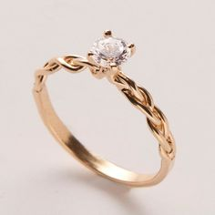 Braided Engagement Ring 18K Yellow Gold and by DoronMeravWeddings, $1900.00