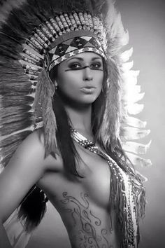 native women with headdress tattoos - Google Search