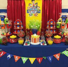 Colorful Paw Patrol birthday party! See more party planning ideas at CatchMyParty.com!