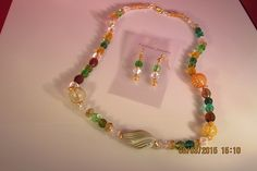 Asst.Hand blown beads Necklace and earrings set