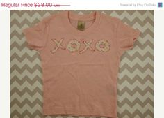 Ready to Ship SALE Ready to ship baby girl shirt baby gift pink hearts love  xoxo retro heart fabric Childrens Valentines Day gift