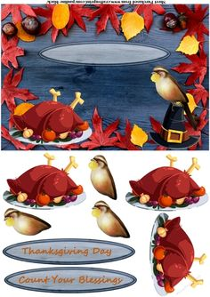 Thanksgiving Turkey Quaker Hat by Pauline Black Rich and colourful autumn leaves on a wood panel for this A5 topper. There is a roast turkey and bird for decoupaging and a choice of two sentiments with text to add as you wish.