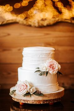 Rustic, Inspired Wedding Dessert Bar with Two Tier White Ruffled Wedding Cake with Floral Accents by Alessi Bakery