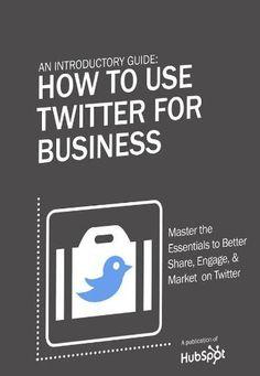O e-book 'An Introductory Guide: How to Use Twitter for Business' oferece conceitos e dicas sobre engajamento, compartilhamento e estratégias de marketing no microblog. A obra, gratuita, apresenta o site como uma plataforma com oportunidade de negócios e promoção de marcas.