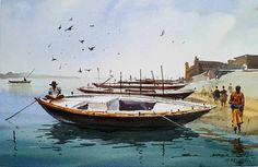 "sikander singh on Instagram: ""Plein air fun at varanasi lana paper size 7x10 inch i #ghat #boats #banaras #varanasi #landscape #watercolorartist #watercolour…"" Watercolor Landscape Paintings, Watercolour, Varanasi, Paper Size, Boats, Artist, Fun, Instagram, Pen And Wash"