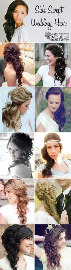Side swept wedding hair ideas via http://blog.hairandmakeupbysteph.com by Karen Ascencio http://www.planningwedding.net/