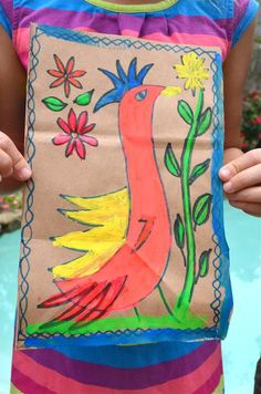 Fun ways to learn about Mexican culture coming up on Cinco de Mayo. Mexican Amate Painting for Kids- Kid World Citizen Mexico Crafts, Spanish Art, Spanish Class, Spanish Culture, Spanish Games, Spanish Activities, Mexico Art, Cool Art Projects, Project Ideas