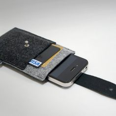 Dualcolor iPhone Case  Black leather and Felt by charbonize, $27.00