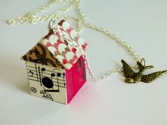 OOAK Wood Bird House Necklace Pendant Ticket by HeidiKindFinds