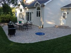 curved patio Belgard Dublin Cobble Paver Patio + Sitting Wall and Firepit  - Fossil Beige - Wildwood, MO - Lance's Lawn and Landscape, LLC   - St Louis P...