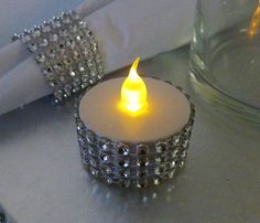 DIY Light Crafts for fancy party time! Add silver bling rhinestones & faux jewels to LED tea light candles! We have many colors to choose from: http://www.flashingblinkylights.com/light-up-products/flickering-led-candles.html