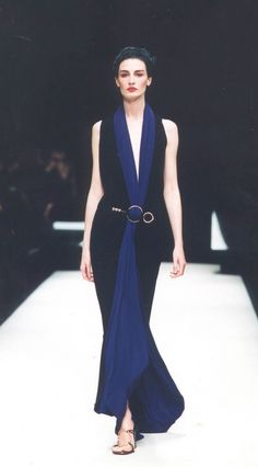Gianfranco Ferré 2001: Navy + Black + Gold. Stunning...This dress was made for my cousin...