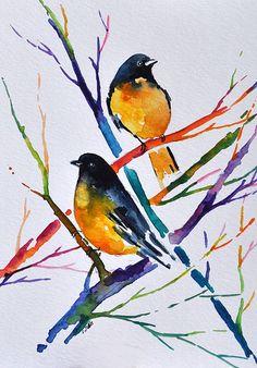 Watercolor Colorful Summer Birds in a Tree by Stefan Peters, Art Corner Shop
