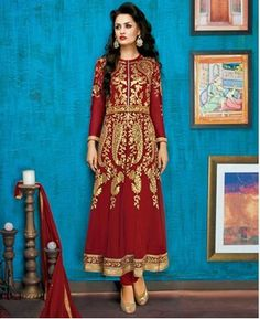 Buy Admirable Dark Red Party Wear Salwar Kameez [APRG2764] at $79.75
