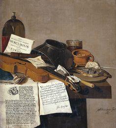 Anthonie Leemans, Stilleven met een exemplaar van De Waere Mercurius, een nieuwsblad over Tromp's overmeestering van drie Engelse schepen op 28 juni 1639, en een gedicht over de schoenmaker die het werk van Apelles misprijst.  1655 (78 × 72 cm) Amsterdam, Rijksmuseum