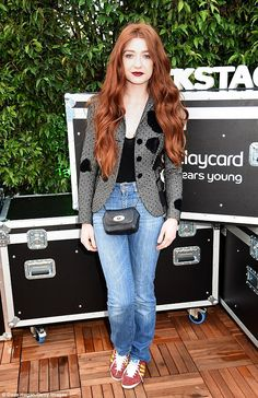 Marching to the beat of her drum: Nicola Roberts looked seriously stylish as she enjoyed the VIP lifestyle at the Barclaycard Presents British Summer Time Festival in Hyde Park on Saturday
