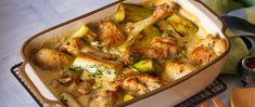 Tejszínes szószban sült csirkecomb és póréhagyma – A páctól omlós és nagyon finom lesz a hús - Receptek | Sóbors Sprouts, Potato Salad, Potatoes, Meat, Chicken, Vegetables, Ethnic Recipes, Food, Potato