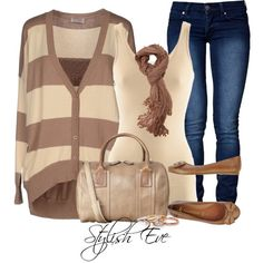 Cute neutral outfit with flats. I think I'd change out the scarf and purse for one with some color.