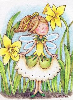 Fairy art by Carmen Keys Medlin. A sweet dot-eyed fairy dressed in yellow, playing with her favorite daffodil flowers. Cartoon Drawings, Art Drawings, Unicorns And Mermaids, Acrylic Painting Lessons, Cute Fairy, Forest Creatures, Artist Portfolio, Forest Fairy, Daffodils