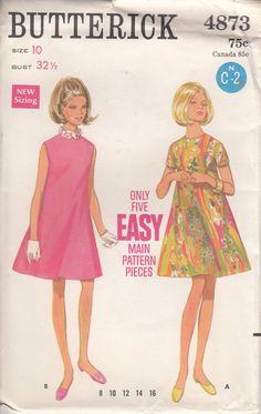 Vintage 60s UNCUT Sewing Pattern EASY DRESS by HoneymoonBus, $7.99