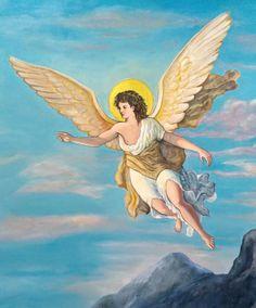 Angelo, particolare del dipinto La Resurrezione di Cristo. Umberto Cesino, 2017.