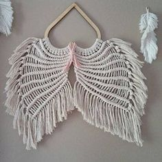 Angel Wings Pattern/Tutorial   Etsy Macramé Angel, Angel Wings Art, Angel Wings Wall Decor, Macrame Projects, Yarn Projects, Dream Catcher Patterns, Hippie Home Decor, African Mud Cloth, Heart Frame
